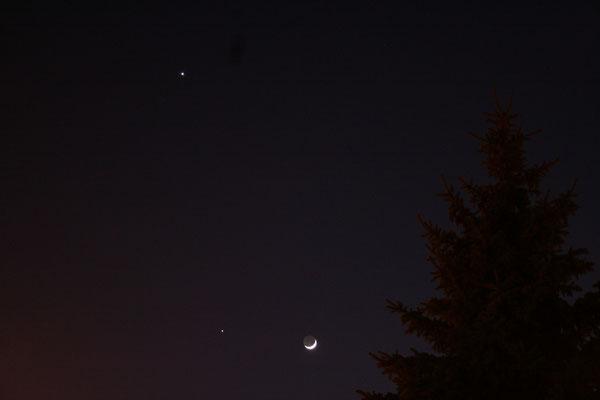 25 mars 2012 - conjonction Lune-Vénus-Jupiter