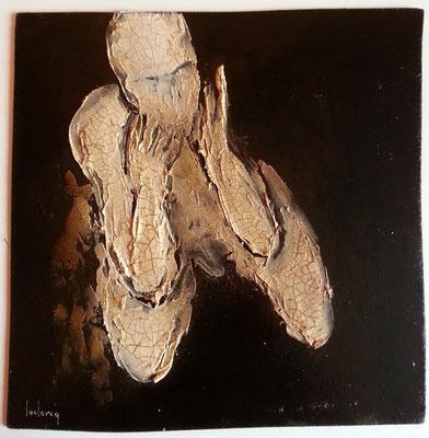 A genoux 30x30 cm sur bois