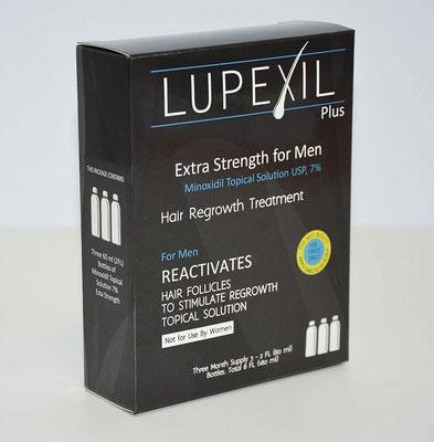 Minoxidil al 7% Lupexil para barba y bigote. Efectos secundarios mas comunes