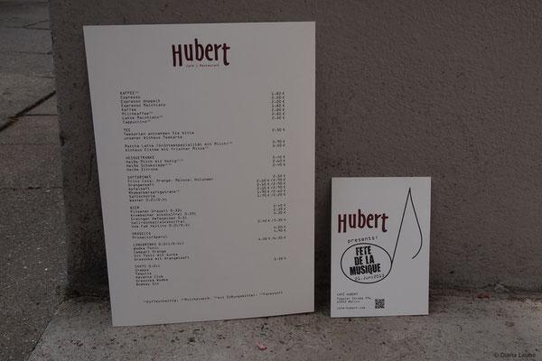 Speisekarte und Flyer für Café Hubert