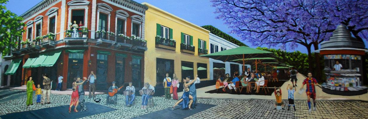CAFE DORREGO- BUENOS AIRES  -  Acryl auf Leinwanddruck-  200 cm  x 80 cm