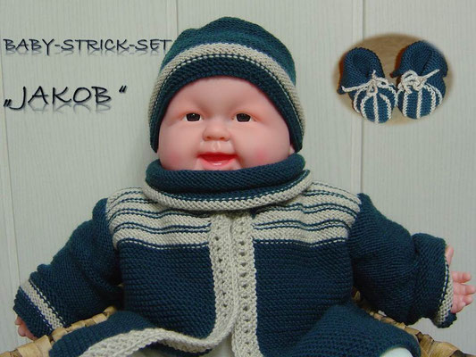 Baby-Strick-Set Jakob - 4 Teile: Jacke, Mütze, Loop, Schuhe