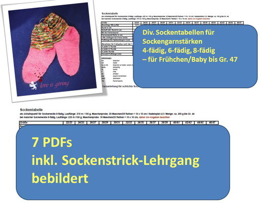 Die ultimative Sockentabellen-Sammlung 4-, 6-, 8-fädig inkl. Sockenstrick-Lehrgang  Baby bis Gr. 47