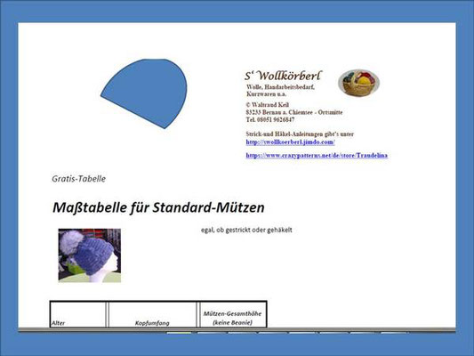 Gratis-Mützen-Tabelle für's Stricken und Häkeln von Standard-Mützen - alle Größen