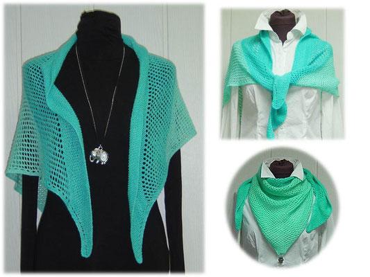 """Dreieckstuch """"Chiemsee-Wellen"""" aus Ferner Merino Lace handgefärbt gestrickt"""
