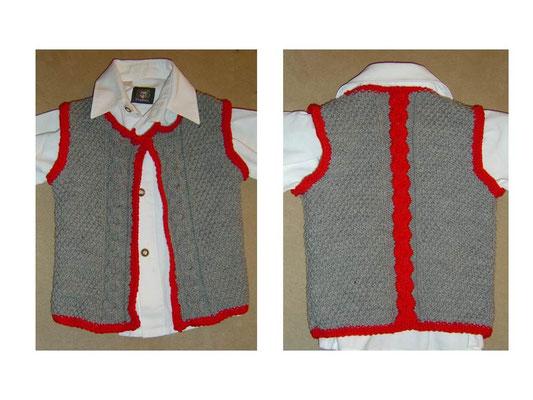 Baby-Trachtenweste mit Intarsienzopf Gr.86/92