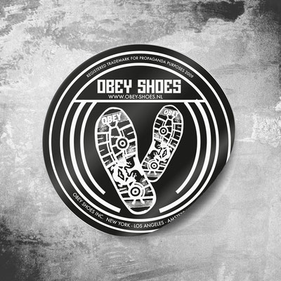 Final exam project - Guerilla sticker action to promote new fictive product 'Obey Shoes'