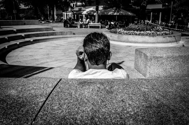 Street Photography monochrome a man from behind