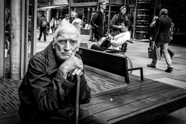 Street Photography monochrome the old man