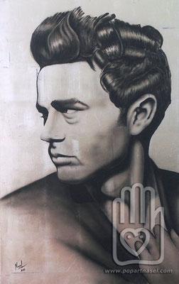 James Dean - acrílico sobre pan de plata
