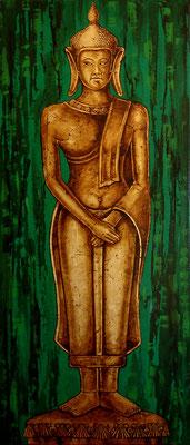 """Guardián 1   """" The Golden Orient"""" by NASEL . Acrílico sobre madera y Pan de oro. Medidas : 52 cm X 122 cm"""