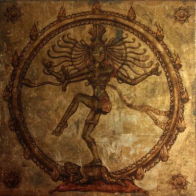 """SHIVA """" The Golden Orient"""" by NASEL Betún de Judea Sobre madera y Pan de Oro. Medidas: 107 cm X 108 cm"""