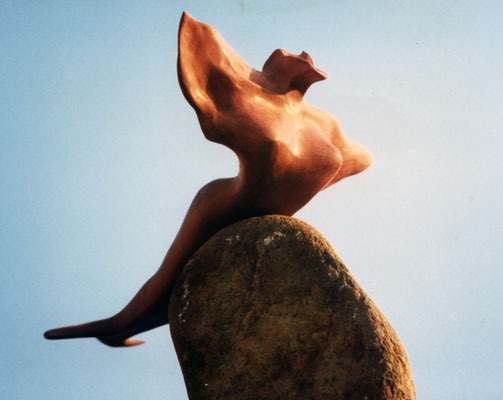 flying siren - wood sculpture by Nasel