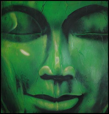 """Bhuda´s face  """" The Golden Orient"""" by NASEL.  Acrílico sobre madera . Medidas : 68 cm X 70 cm"""