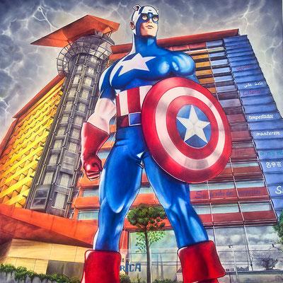 CAPITÁN AMÉRICA HOTEL PUERTA AMÉRICA - acrilyc on canvas 130 X 130 cm