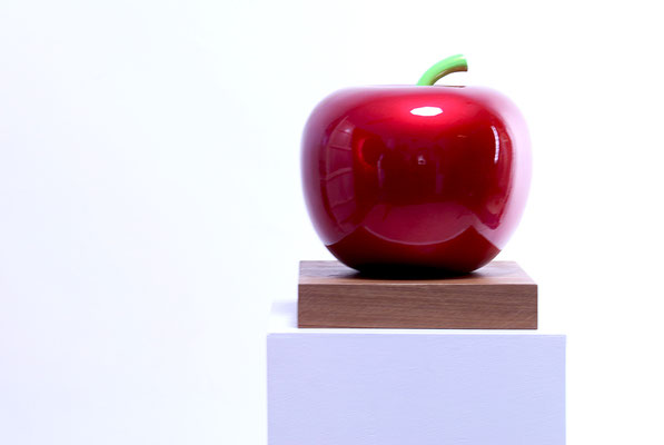 RED APPLE TEMPTATION sculpture by Nasel 2018  - size: 28x25x25cm