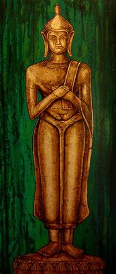 """Guardian 2 """" The Golden Orient"""" by NASEL.  Acrílico sobre madera y Pan de oro. Medidas : 52 cm X 122 cm"""