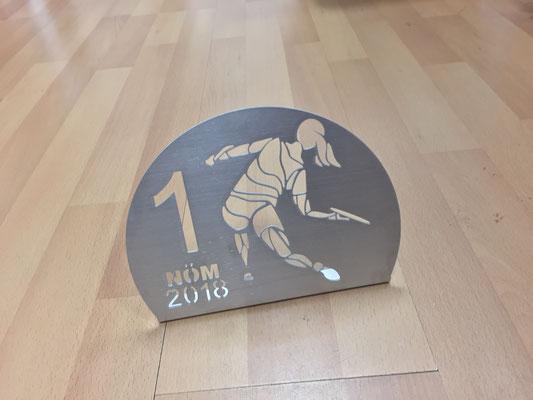 Pokale - Niederösterreichischer Frisbeeverband (geschliffenes Aluminium, wasserstrahlgeschnitten)