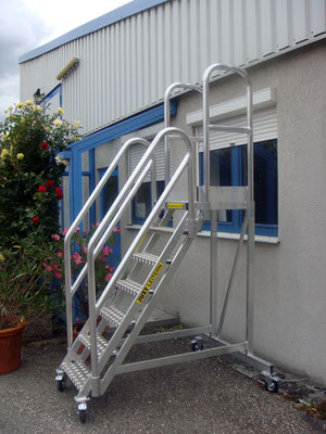 movable stair with railings