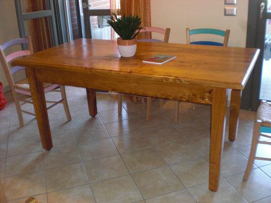 Il tavolo senza le prolunghe, nascoste sotto il piano