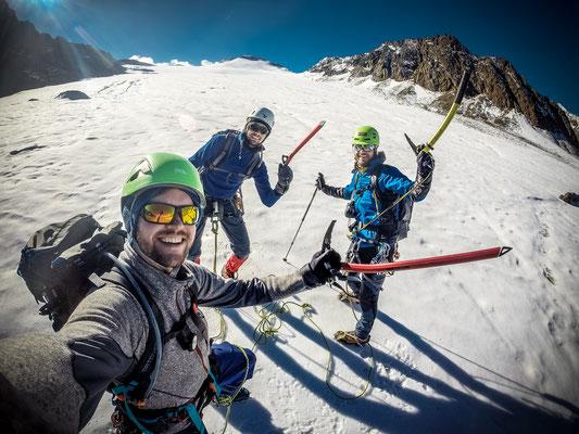 Anseilen am Gletscher ist Pflicht