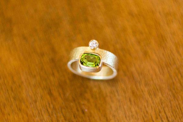 Gold 750/- | grüner Trumalin, Brillant