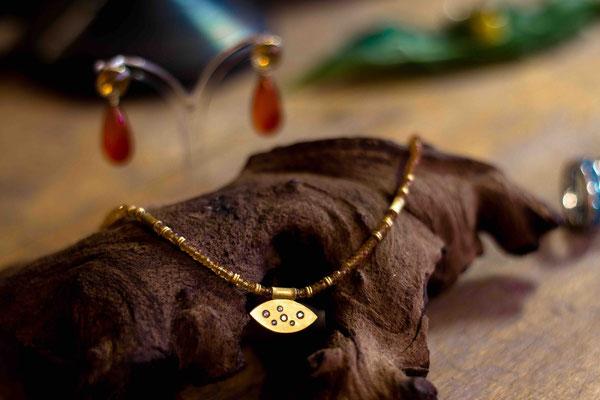 Gold 900/- | Mandaringranatkette, Anhänger mit Brillanten