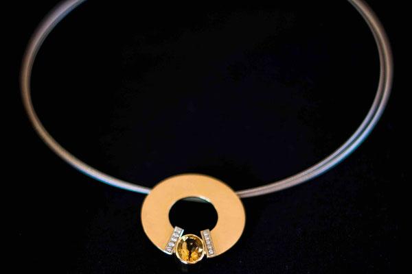 Gold 750/-   Citrin, Brillanten