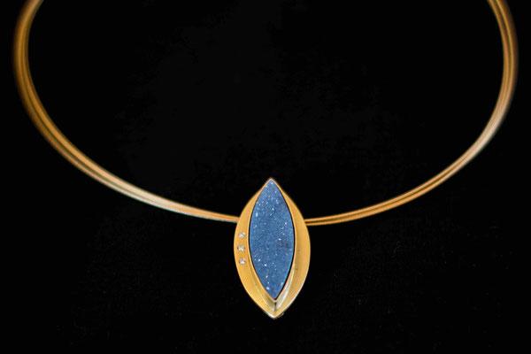 Gold 750/- | Achatkristallnavette, Brillanten