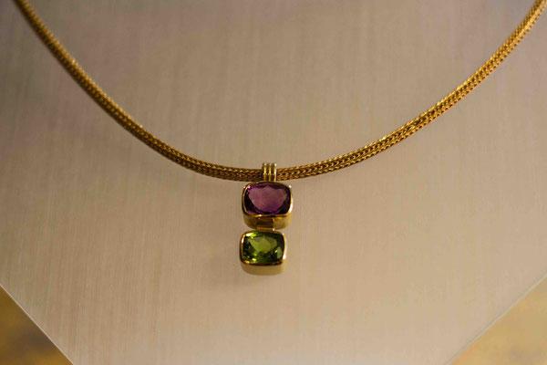 Gold 750/- | Strickkette mit Anhänger Amethyst, Peridot