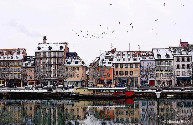 Les quais sous la neige Strasbourg Nicolas Rosès Photographe