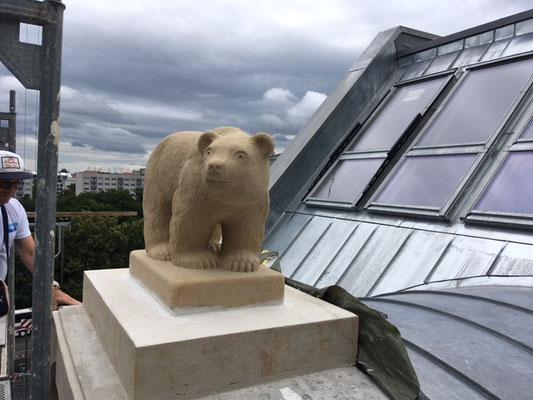 Sandsteinbär auf dem Dach.