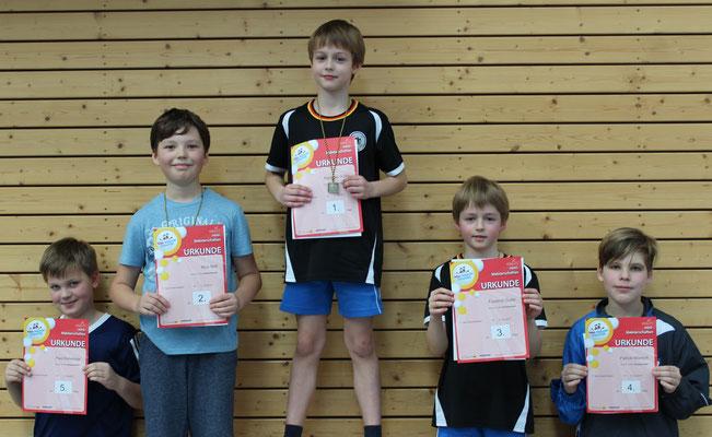 Jungen AK2 mit Raphael Dulitz (Goldmedaille), Friedrich Dulitz (Bronzemedaille) und Patrick Wünsch (vierter Platz)