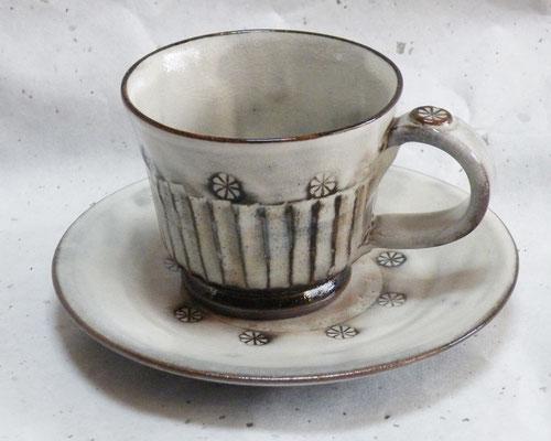 しのぎ手コーヒーカップソーサー