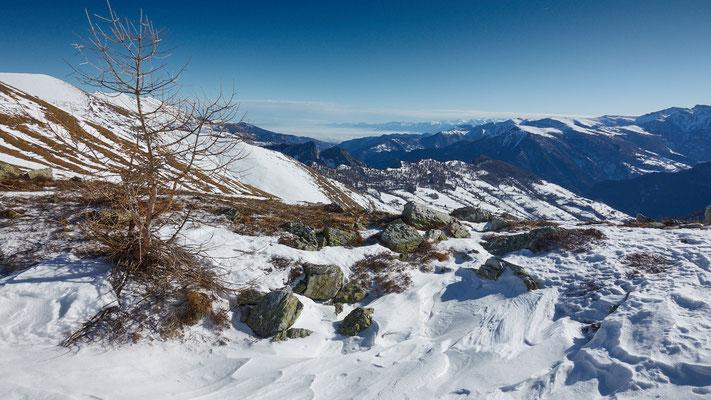 im Anstieg zum Monte Chersogno, Blick zurück nach San Pellegrino Sup.
