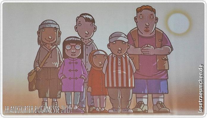 """Hier """"die Gang"""", sechs neue Kinder, die Rico und Oskar im Sommer kennengelernt haben. Gezeichnet von the one and only Peter Schössow."""