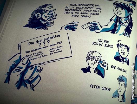"""DIE Kult-Szene in der Kult-Reihe """"Die drei ???""""; hier in der ersten Graphic Novel."""