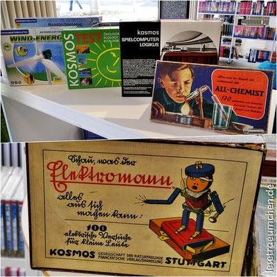 """Experimentierkästen aus vielen Jahrzehnten. Der """"Elektromann"""" ist der Pionier und stammt aus dem Jahr 1922."""