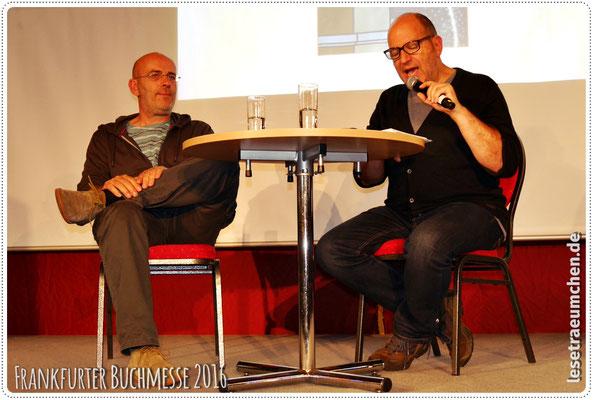 """Und nochmal Dirk und Andreas Steinhöfel. Diesmal bei der Lesung aus """"Dirk und ich"""" im Lesezelt."""