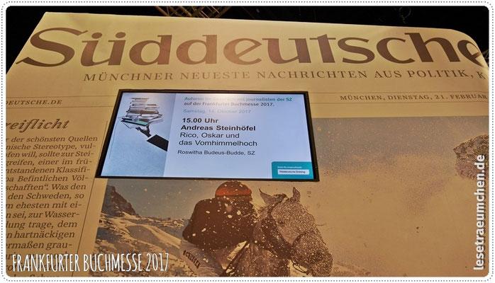 Samstag Nachmittag: Interview am Stand der Süddeutschen Zeitung ...