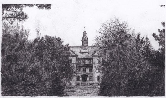 Lost Place Zeichnung - Parkkrankenhaus Dösen
