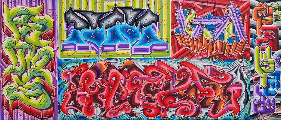 PAT23 - 5 Graffiti Styles Leinwand 60x30