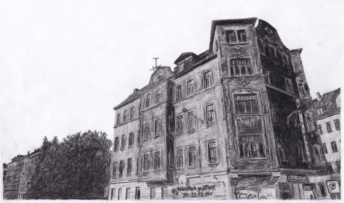 Lost Place Zeichnung - Wohnhaus Reudnitz