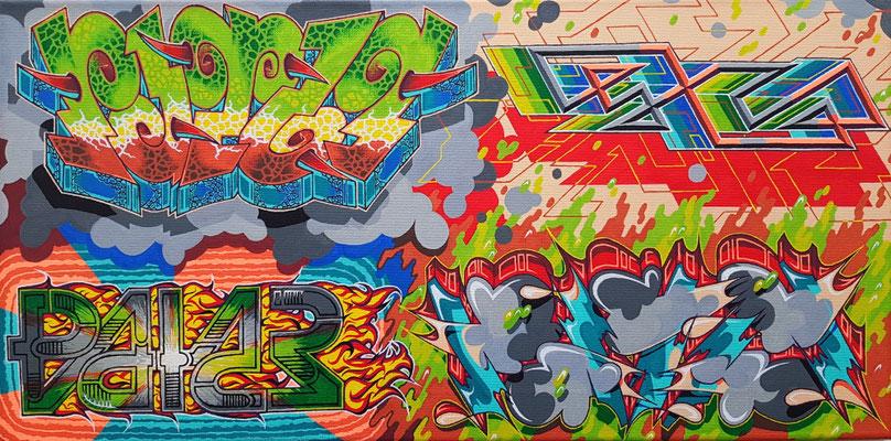 PAT23 - 4 Graffiti Styles Leinwand 50x30