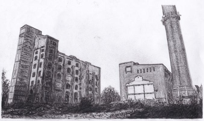 Lost Place Zeichnung - Brikettfabrik Witznitz