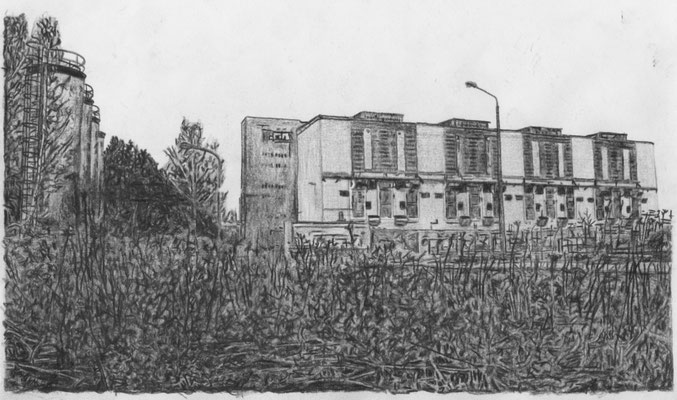 Lost Place Zeichnung - Kraftwerk Thierbach