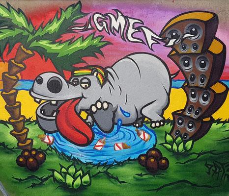 PAT23 - Graffiti Character Nilpferd - Leipzig 2020