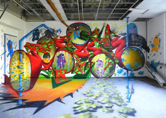 PAT23 & PersArt - Lost Place Graffiti Mural Leipzig
