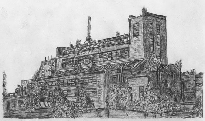 Lost Place Zeichnung - Industriekraftwerk Kleinzschocher