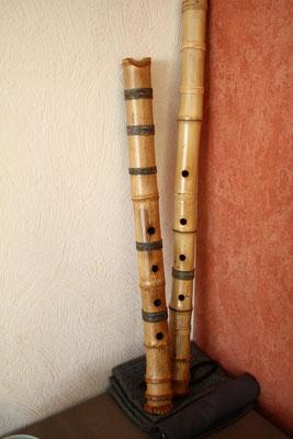 Shakuhachis, japanische Bambusflöten